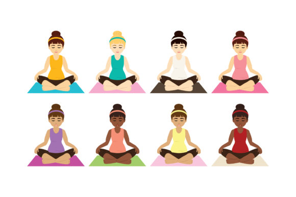 Print on Demand: Yoga Girls Clip Art Graphic Objects By Running With Foxes