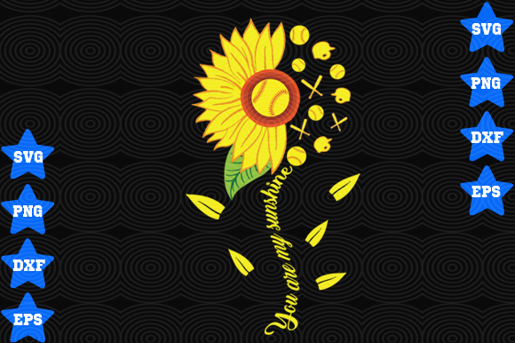 Download Free You Are My Sunshine Softball Graphic By Awesomedesign Creative for Cricut Explore, Silhouette and other cutting machines.
