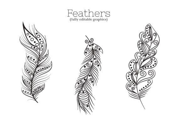 Zenart Boho Feathers Vector Set Graphic By Tatyana_Zenartist Image 2