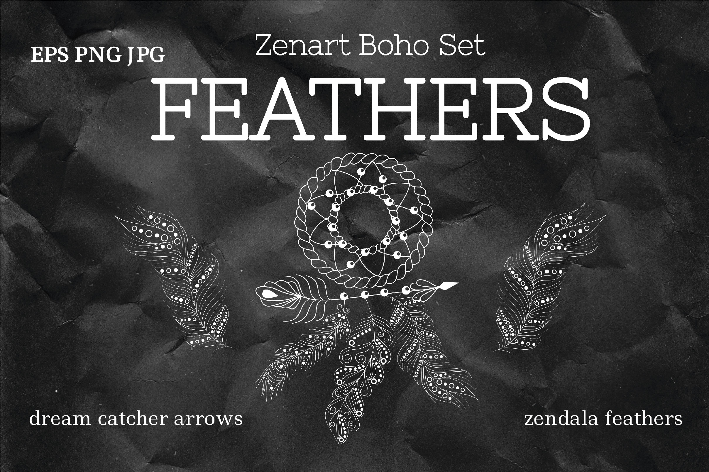 Download Free Zenart Boho Feathers Vector Set Graphic By Tatyana Zenartist for Cricut Explore, Silhouette and other cutting machines.