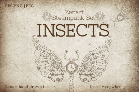 Zenart Steampunk Insects Set Graphic Illustrations By Tatyana_Zenartist