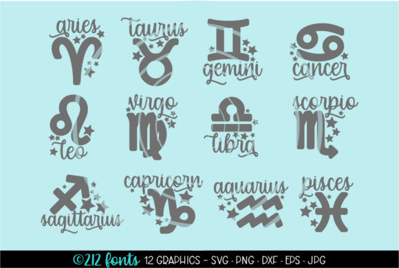 Print on Demand: Zodiac Sign Symbols Graphic Illustrations By 212 Fonts