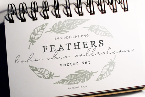 Print on Demand: 100 Boho-Chic Feathers Vectors -MegaPack Graphic Illustrations By nantia