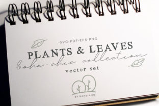 100 Boho-Chic Plants and Leaves Vectors Graphic By nantia