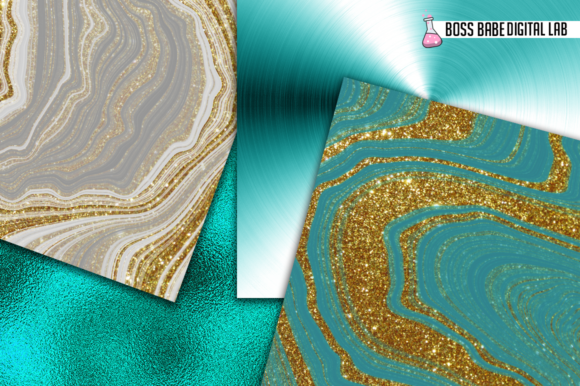 Print on Demand: 12 Turquoise and Gold Glam Graphic Patterns By bossbabedigitallab - Image 2