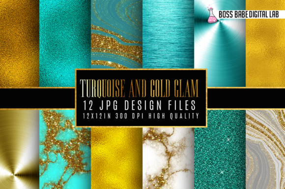 Print on Demand: 12 Turquoise and Gold Glam Graphic Patterns By bossbabedigitallab - Image 1