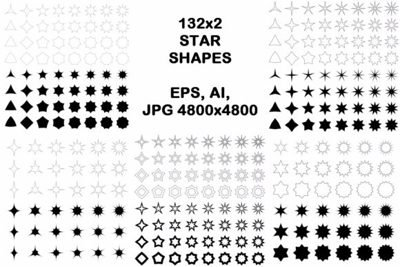 132x2 Star Shapes Graphic Objects By davidzydd - Image 1
