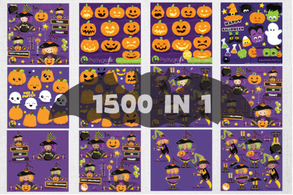Print on Demand: 1500 Graphic Mega Halloween Bundle Graphic Illustrations By Prettygrafik - Image 3