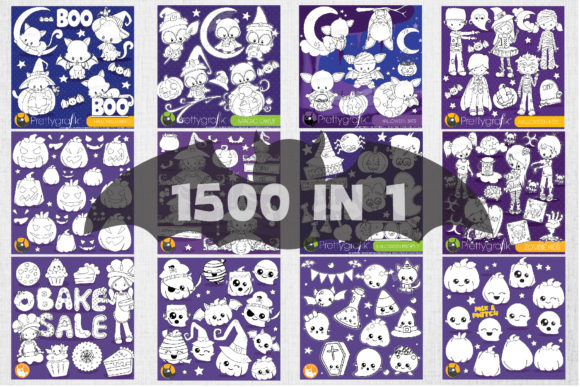 Print on Demand: 1500 Graphic Mega Halloween Bundle Graphic Illustrations By Prettygrafik - Image 6