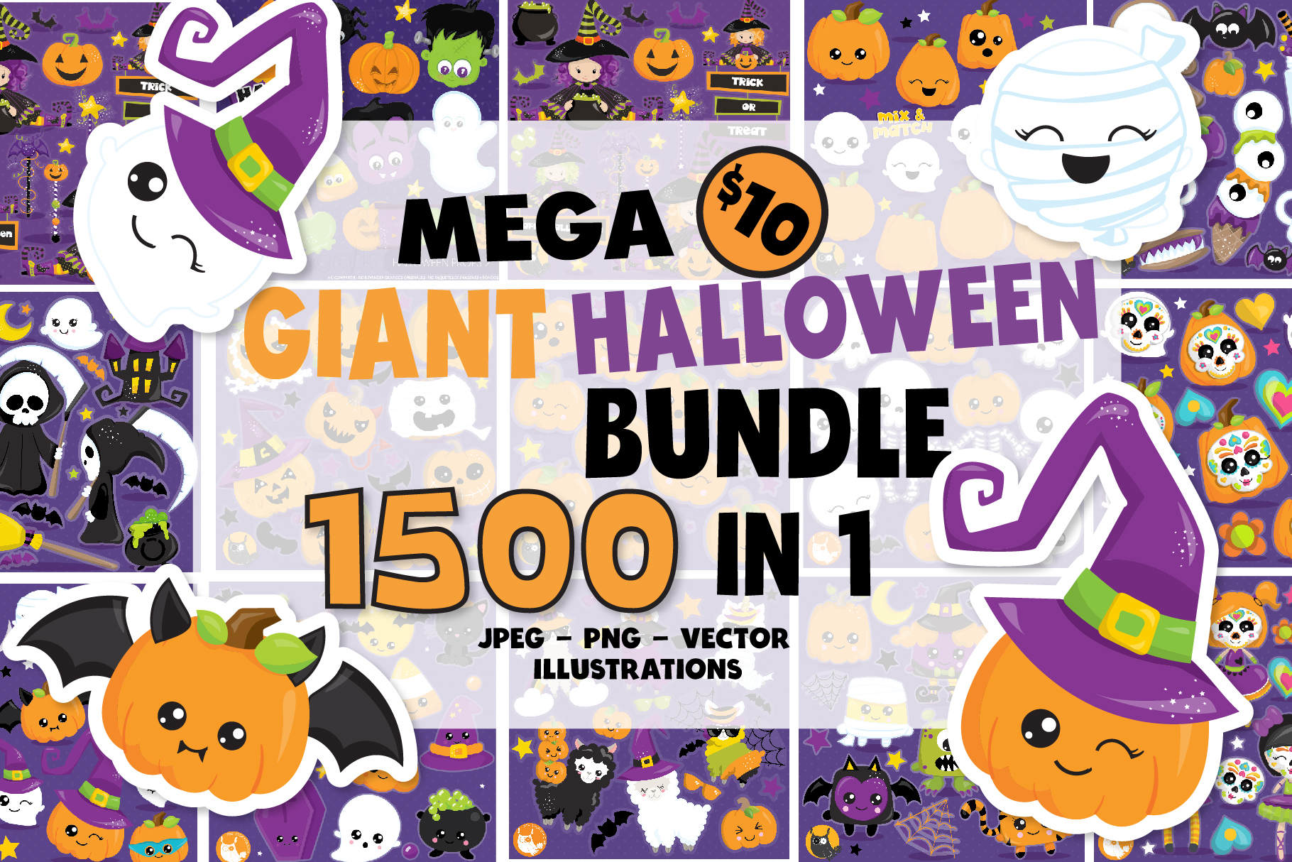 Download Free 1500 Graphic Mega Halloween Bundle Graphic By Prettygrafik for Cricut Explore, Silhouette and other cutting machines.