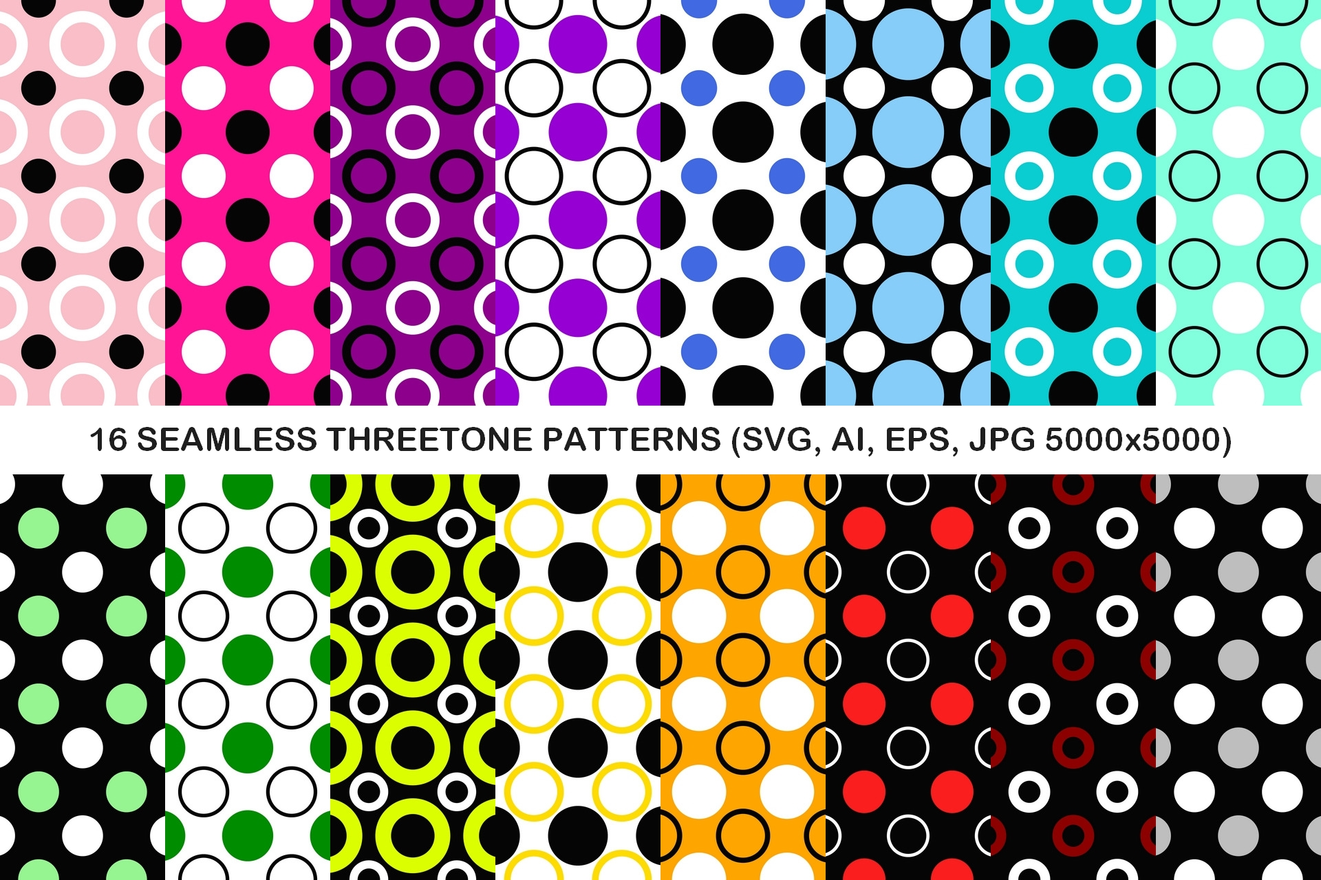 Download Free 16 Seamless Threetone Circle Patterns Graphic By Davidzydd for Cricut Explore, Silhouette and other cutting machines.