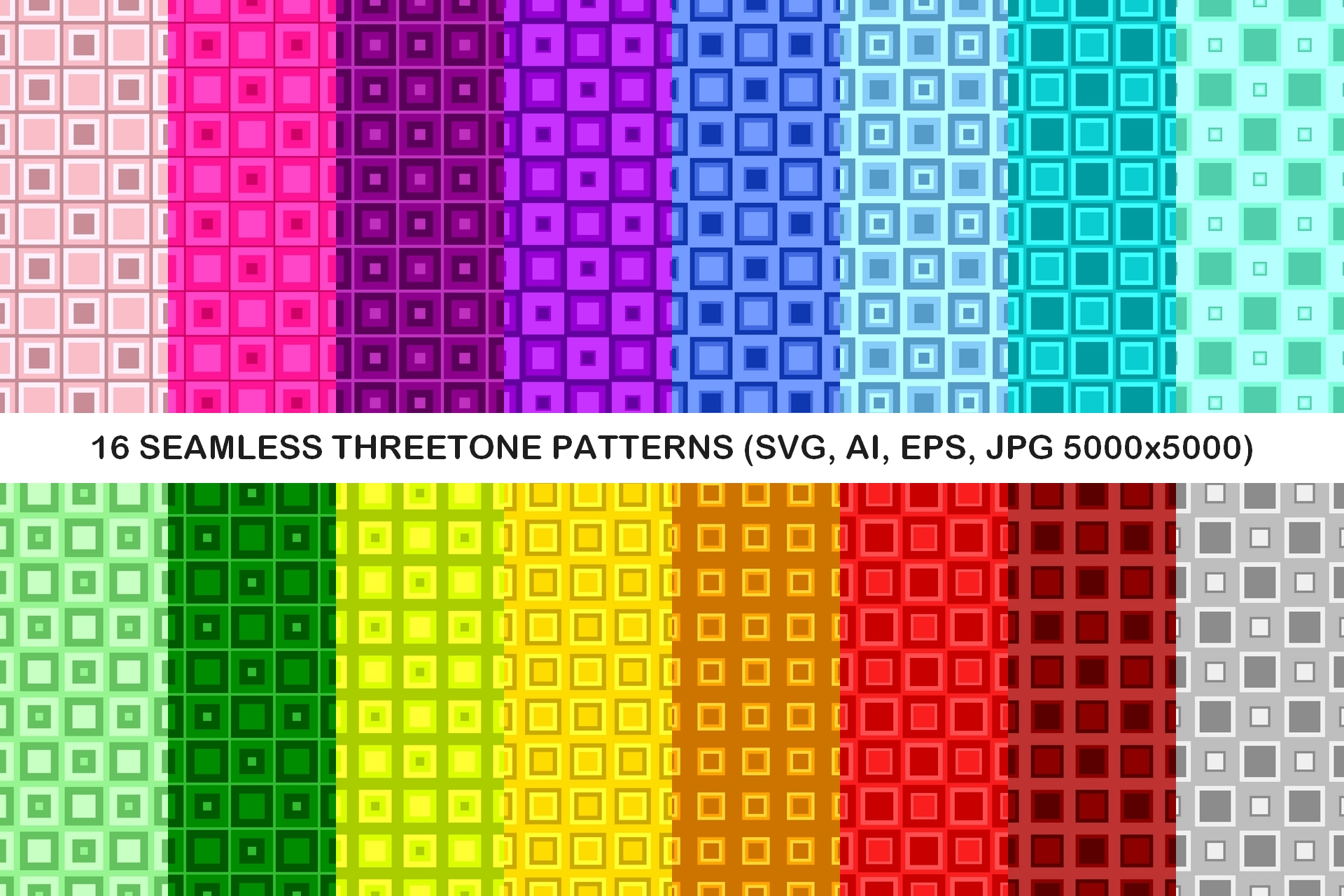 Download Free 16 Seamless Threetone Square Patterns Graphic By Davidzydd for Cricut Explore, Silhouette and other cutting machines.