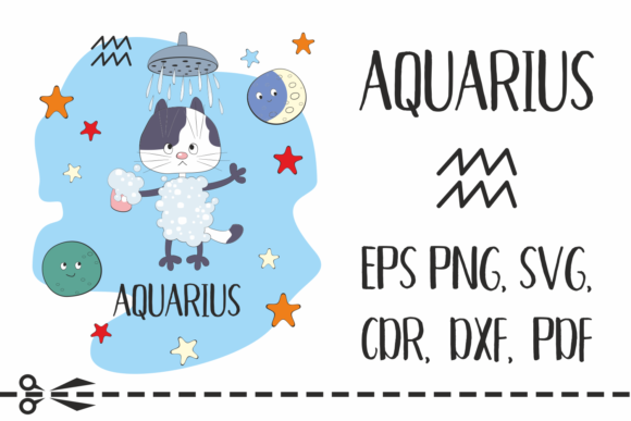 Print on Demand: Aquarius Zodiac Sign with Funny Cat Graphic Crafts By Olga Belova