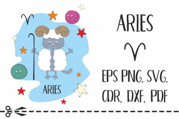Print on Demand: Aries Zodiac Sign with Funny Cat Graphic Crafts By Olga Belova - Image 1