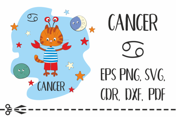Cancer Zodiac Sign with Funny Cat Graphic By Olga Belova