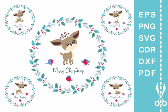 Cute Christmas Deer Cut File Set Graphic By Olga Belova