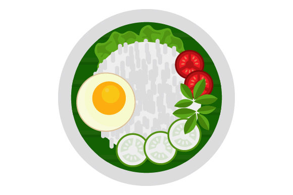 Download Free Egg Rice And Vegetables Plate Icon Graphic By Graphicrun123 for Cricut Explore, Silhouette and other cutting machines.