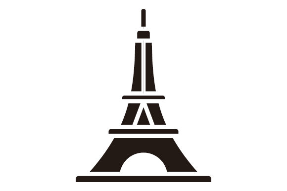 Download Free Eiffel Tower Glyphicon Logo Graphic By Graphicrun123 Creative for Cricut Explore, Silhouette and other cutting machines.