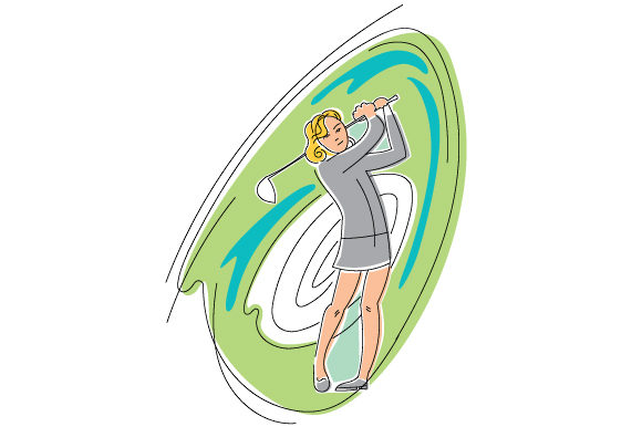 Download Free Female Golf Swing In Abstract Print Style Svg Cut File By SVG Cut Files