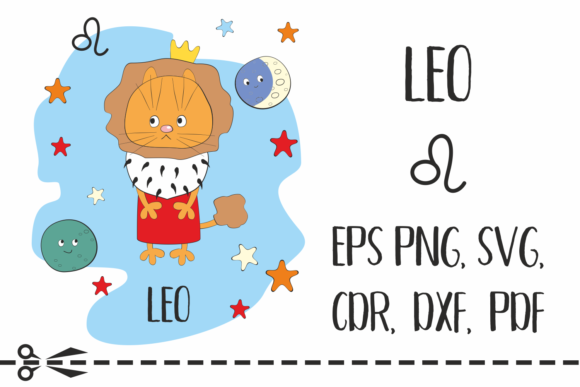 Print on Demand: Leo Zodiac Sign with Funny Cat Graphic Crafts By Olga Belova