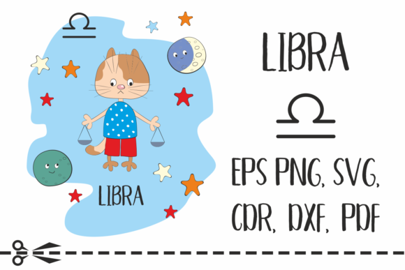 Print on Demand: Libra Zodiac Sign with Funny Cat Graphic Crafts By Olga Belova