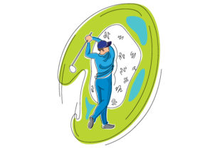 Male Golf Swing in Abstract Print Style Craft Design By Creative Fabrica Crafts
