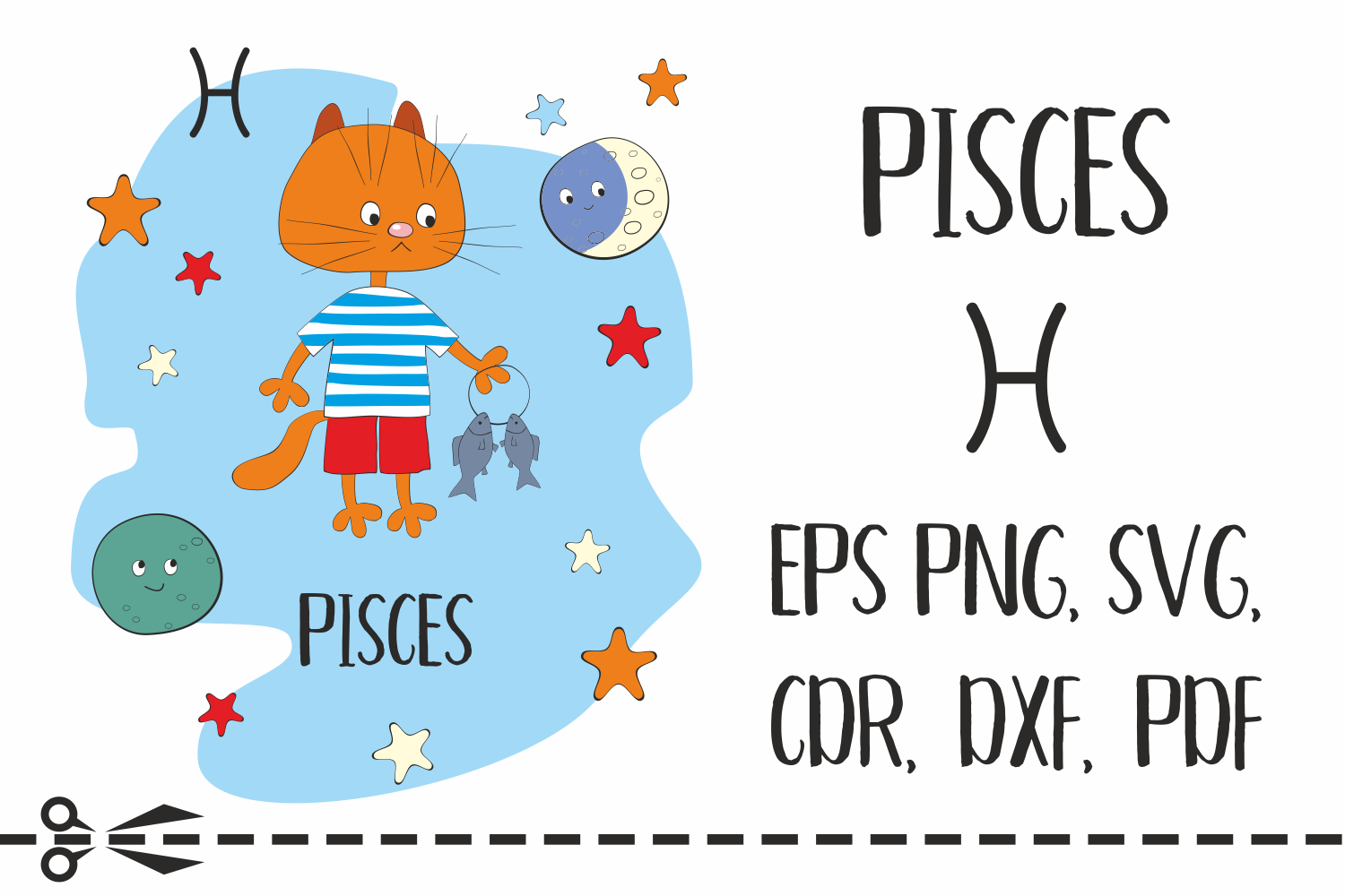 Download Free Pisces Zodiac Sign With Funny Cat Graphic By Olga Belova Creative Fabrica for Cricut Explore, Silhouette and other cutting machines.