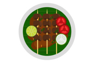 Download Free Satay With Tomato Cucumber Flat Icon Graphic By Graphicrun123 Creative Fabrica for Cricut Explore, Silhouette and other cutting machines.