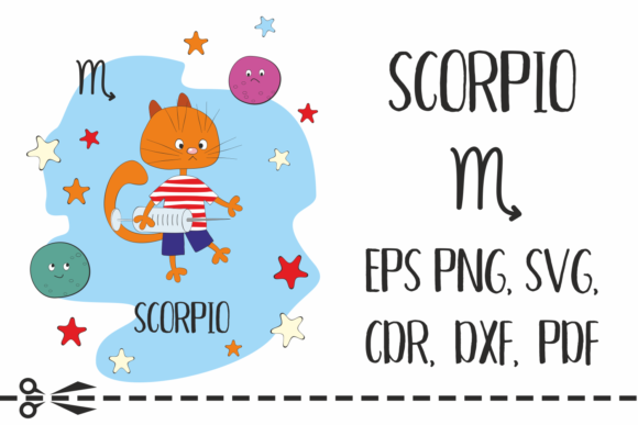 Print on Demand: Scorpio Zodiac Sign with Funny Cat Graphic Crafts By Olga Belova