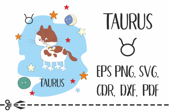 Print on Demand: Taurus Zodiac Sign with Funny Cat Graphic Crafts By Olga Belova - Image 1