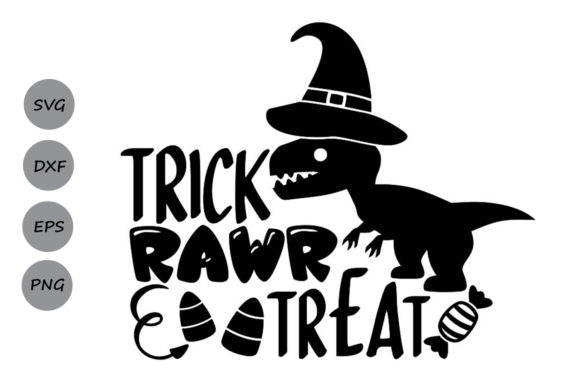 Download Free Trick Rawr Treat Graphic By Cosmosfineart Creative Fabrica for Cricut Explore, Silhouette and other cutting machines.