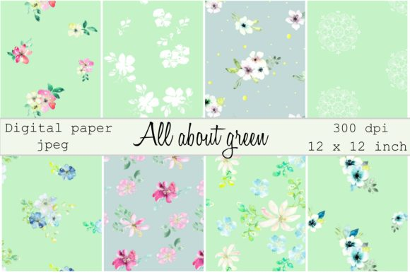 Print on Demand: All About Green Digital Paper Gráfico Moldes Por Anines Atelier