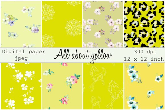 Print on Demand: All About Yellow Digital Paper Graphic Patterns By Anines Atelier