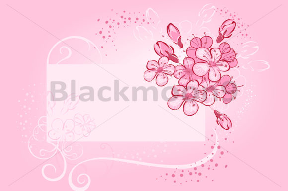 Banner with Flowering Cherry Graphic Illustrations By Blackmoon9