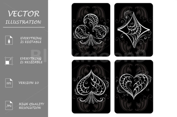 Download Free Black Playing Cards Graphic By Blackmoon9 Creative Fabrica for Cricut Explore, Silhouette and other cutting machines.