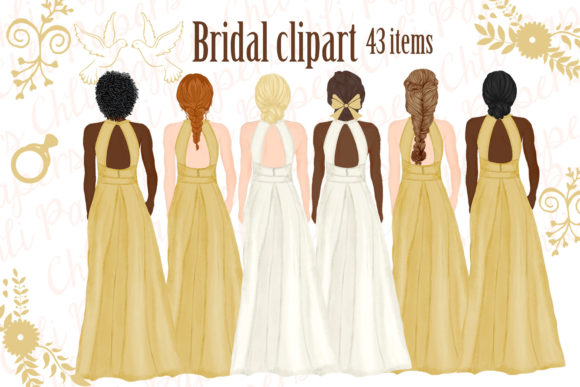 Bride and Bridesmaids Clipart Graphic Illustrations By ChiliPapers
