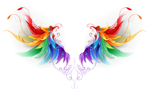 Fluffy Rainbow Wings Grafik Illustrationen von Blackmoon9
