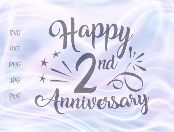 Download Free Happy 2nd Anniversary Two Year Wedding Graphic By Digitals By for Cricut Explore, Silhouette and other cutting machines.