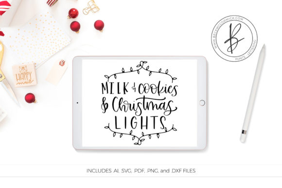 Download Free Milk Cookies And Christmas Lights Graphic By Beckmccormick for Cricut Explore, Silhouette and other cutting machines.