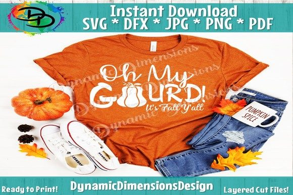 Download Free Oh My Gourd Its Fall Y All Graphic By Dynamicdimensions for Cricut Explore, Silhouette and other cutting machines.
