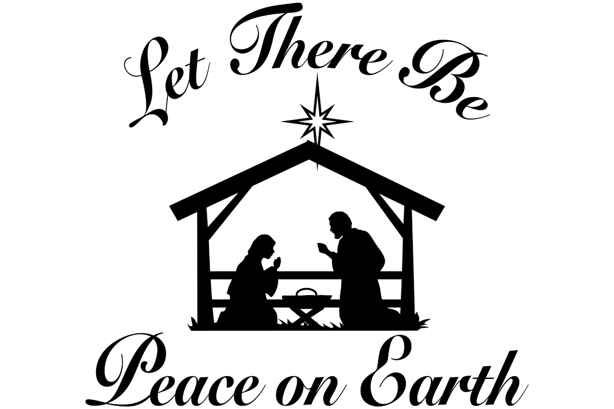 Download Free Peace On Earth Nativity Scene Graphic By Idrawsilhouettes for Cricut Explore, Silhouette and other cutting machines.