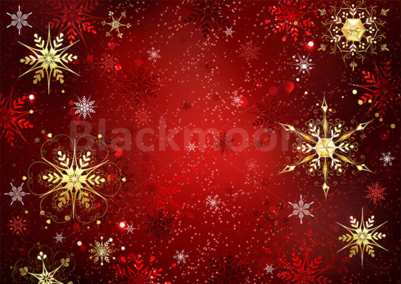 Red Background with Gold Snowflakes Graphic By Blackmoon9