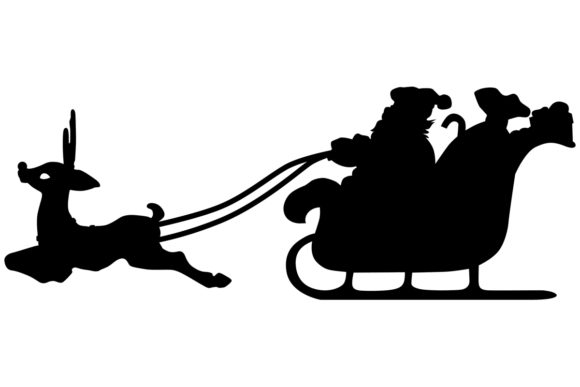 Santa Sleigh with Rudolph Graphic Crafts By iDrawSilhouettes