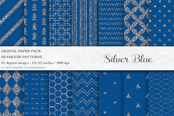 Silver Blue Seamless Patterns, Silver Graphic Patterns By BonaDesigns