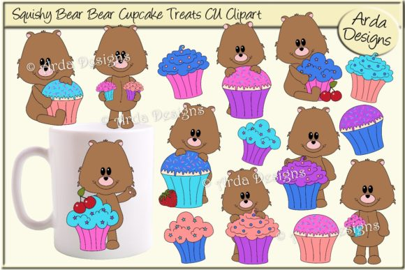 Download Free Squishy Bear Cupcake Treats Cu Clipart Grafico Por Arda Designs for Cricut Explore, Silhouette and other cutting machines.