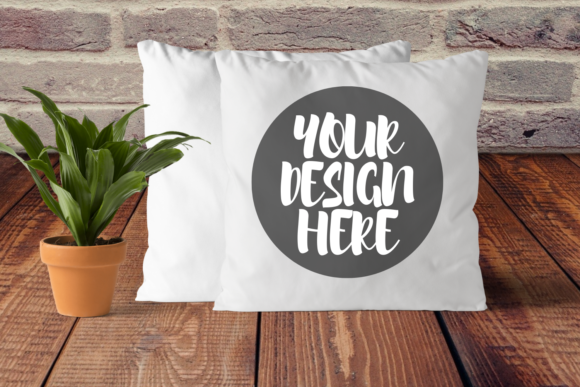 Print on Demand: White Square Pillow Mock Up Graphic Product Mockups By Mockup Venue