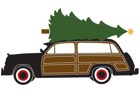 Woody Surf Wagon With A Christmas Tree Graphic By