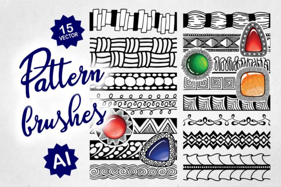 15 Tangle Pattern Brush Set for AI Grafik Pinselstriche von Eva Barabasne Olasz