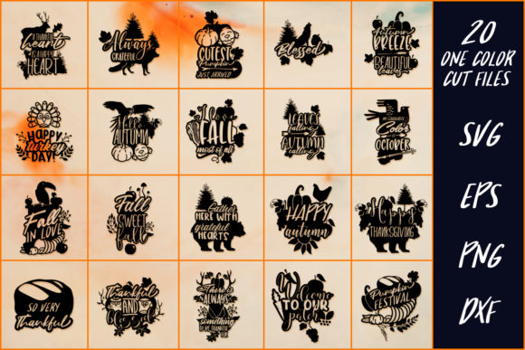 Download Free 20 Thanksgiving Sayings Part 2 Graphic By Craft N Cuts for Cricut Explore, Silhouette and other cutting machines.