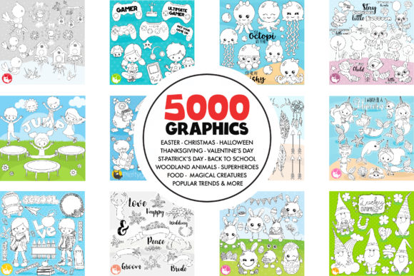 Download Free 5000 In 1 Black Lines Mega Bundle Graphic By Prettygrafik for Cricut Explore, Silhouette and other cutting machines.